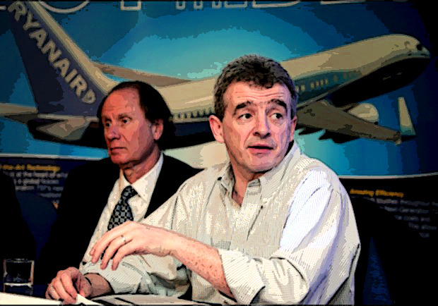 Ryanair Chief Executive O'Leary and Chairman Bonderman speak at a news conference in London