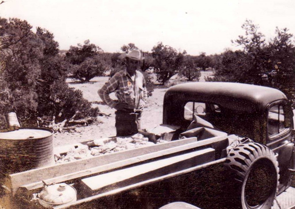 Dad with a load of ore in the Power Wagon before he drove over to the AEC collection site.  I don't recall exactly where that was at but remember we had to cross over on a ferry.