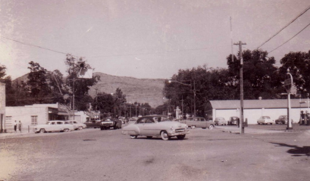 Downtown Moab circa 1955.  I believe that is Dads' 1955 Oldsmobile making the turn.