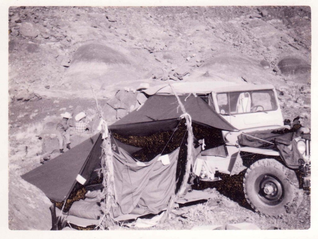 My brother Jeff and my sleeping arrangement at the claim with our 1951 Willys CJ3.