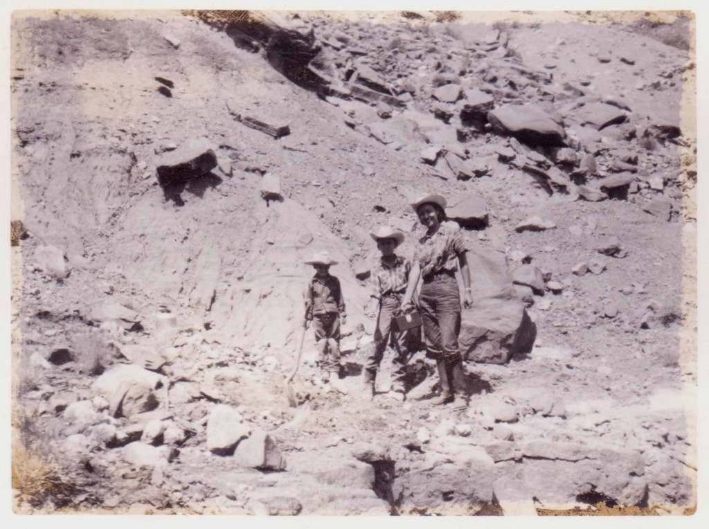 My mother Barbara (with Geiger counter in hand) when she discovered the uranium deposit with Jeff and I.
