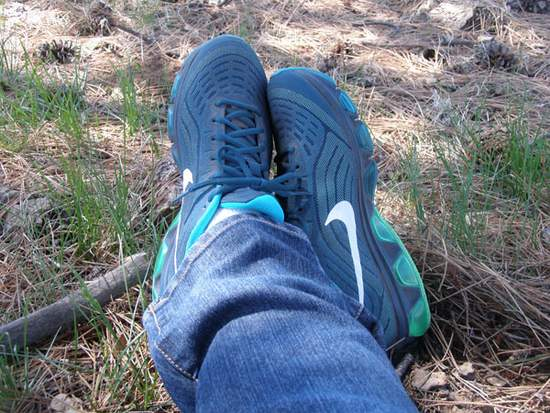 My new Nikes and I resting in the shade under Mother Ponderosa.