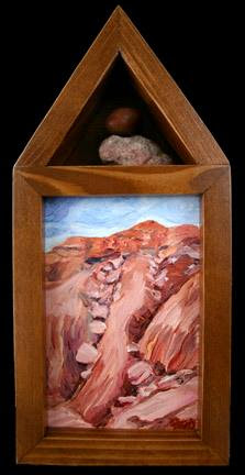 """Canyon Memory Shrine II"", oil on canvas with wood and rock. 5"" x 11"" x 2 1/4"" by Mary Donahue."