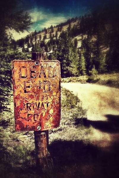 Dead End sign is in Lake City, Co it's a driveway next to a sight where Alfred Packer an American prospector took 5 other men on a journey in the winter of 1873, bad winter, he ended up well, having them for dinner..........literally.