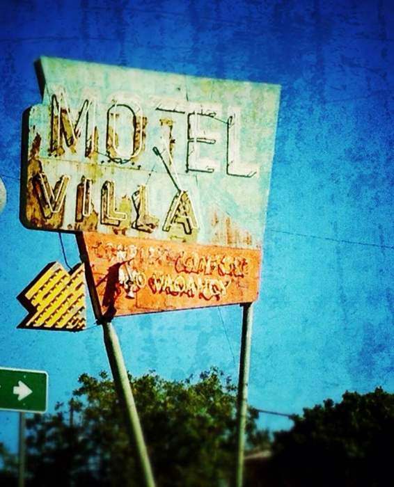 Motel Villa sign in Miami, AZ  (out the car window shot)