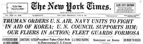 NYT Korean War headlines