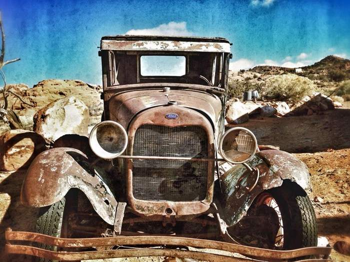 Beautiful old Ford, in someone's beautiful desert landscaped front yard next to where I was working (work shot)