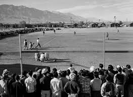 A baseball game at Manzanar Camp. Picture by Ansel Adams c. 1943. c/o Wikipedia
