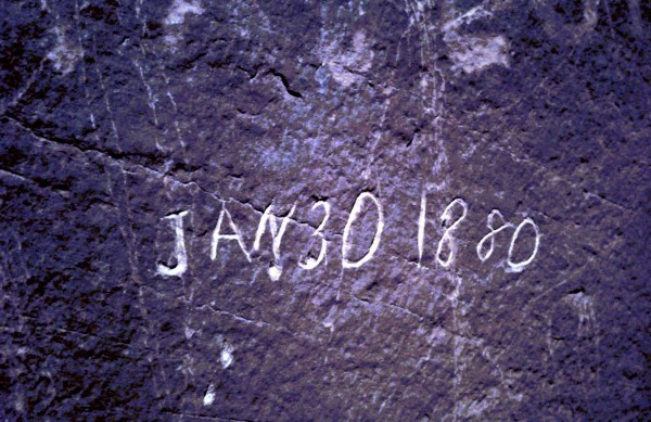 Hole in the Rock inscription.