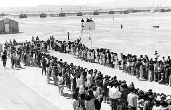 Children line up for school yearbooks. Topaz Utah. Photo Courtesy of Salt Lake Magazine,