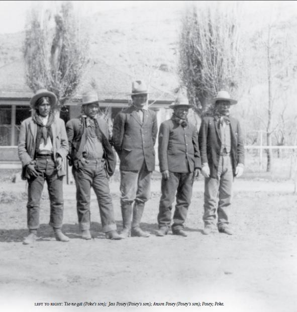 left to right: Tse-ne-gat (Poke's son); Jess Posey (Posey's son); Anson Posey (Posey's son); Posey; Poke
