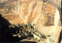 Glen Canyon Dam, under Construction.
