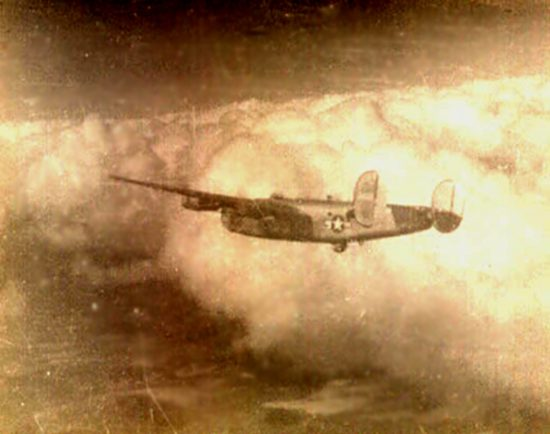B-24 in the air.