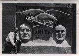 "Albert Christiansen with his ""Unity Monument."""