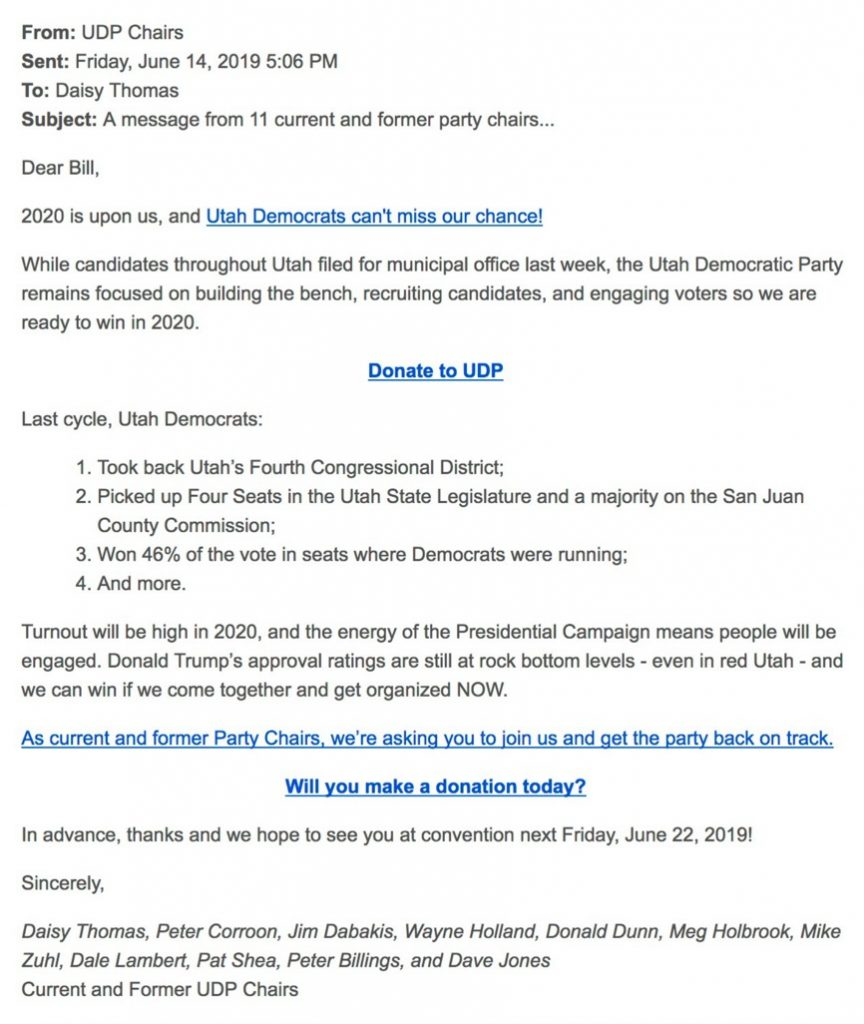 Message from Utah Democratic Party