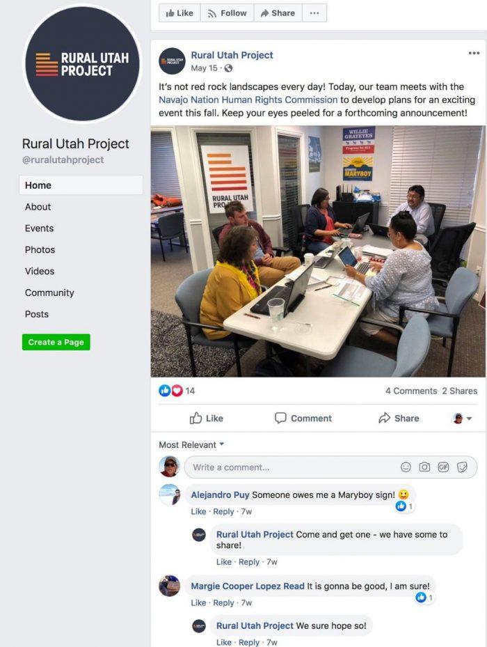 Rural Utah Project Facebook post