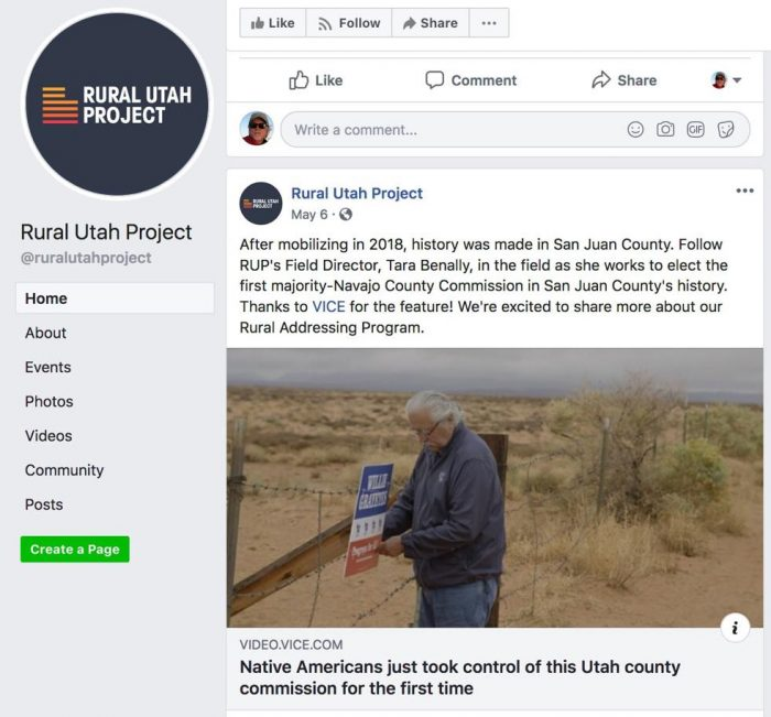 Rural Utah Project facebook post