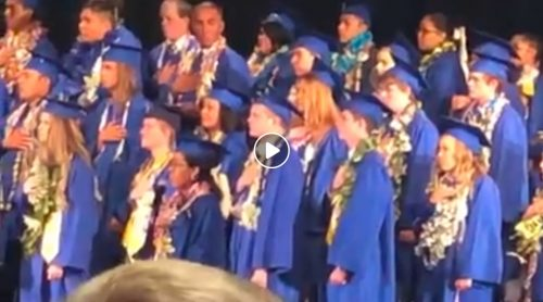 The national anthem was sung in both English and Navajo at the San Juan High School Graduation