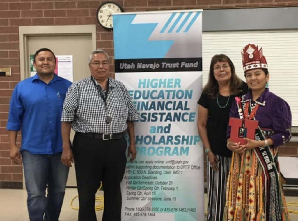 From left: Ryan Benally, Diné Advisory Committee member to the Utah Navajo Trust Fund, Tony Dayish, trust fund administrator and executive director, Dorothy Phillips, trust fund education specialist, and Shania Chee of Monument Valley, Utah, University of Utah Miss Native American Scholar of the Year for 2019-2020, recently participated in an orientation for parents of kids thinking about going to college. (UNTF)
