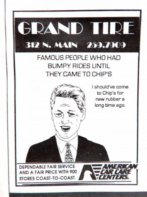Grand Tire Ad featuring Bill Clinton