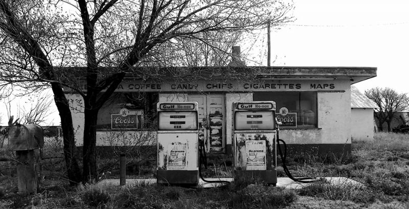 Derelict gas station. Photo by Jim Stiles