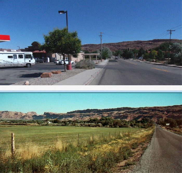 The junction of 400 E and Main Street. 1978 and 2017. photos by Jim Stiles