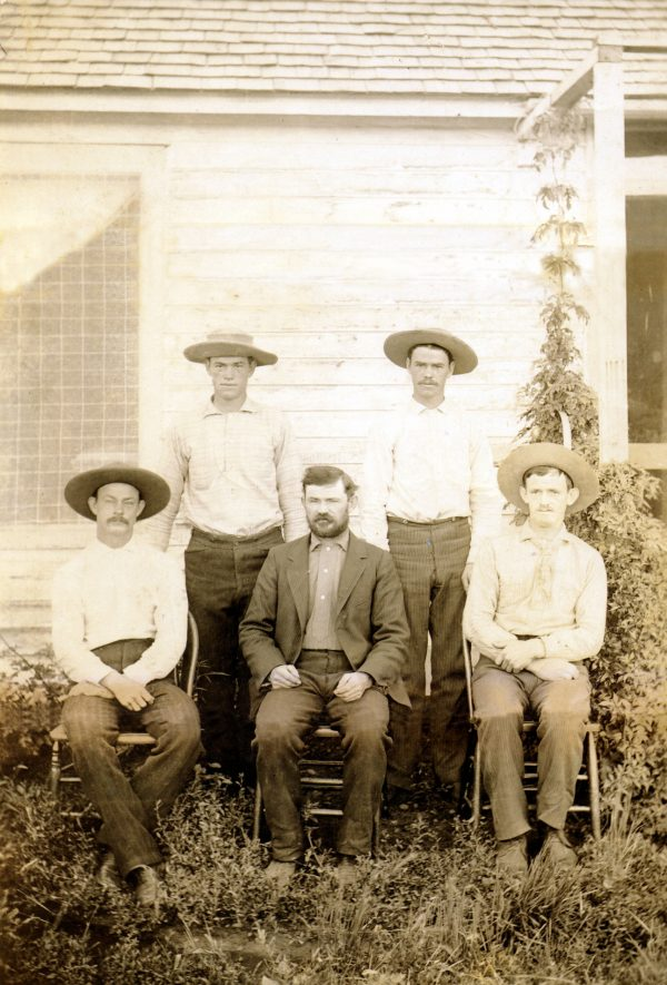 The Wetherill brothers at the Alamo Ranch, about 1891. Front (l to r): Al, Richard, John; rear: Winslow, Clayton.