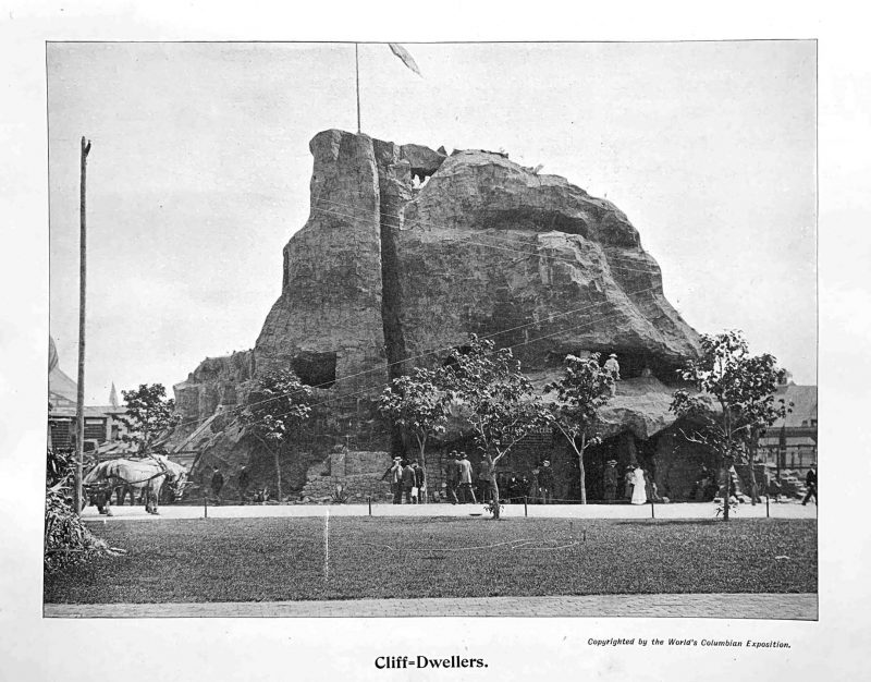 The Cliff Dweller exhibit at the 1893 World's Columbian Exposition in Chicago contained the large Wetherill collection of Mesa Verde materials.