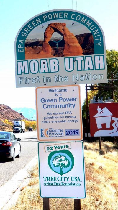 Moab Green Community Sign