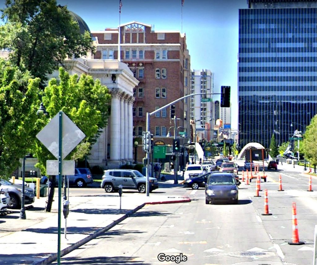 Google view of downtown Virginia St Reno, NV.