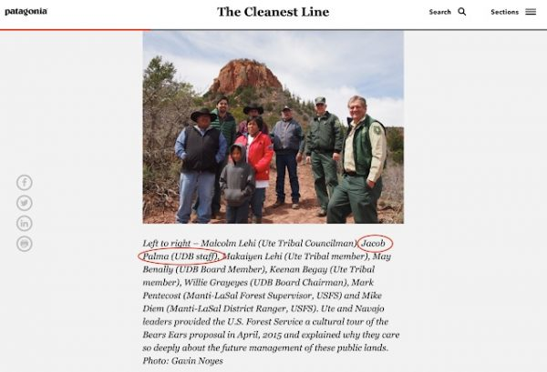 "Jake Palma worked for Utah Diné Bikéyah in April 2015 when he participated in a tour of Bears Ears country with UDB board members and representatives of the U.S. Forest Service. This photo was part of a blog published by a funder of UDB, the outdoor recreation corporation Patagonia, called ""The Cleanest Line."" (Screen grab)"