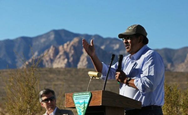Juan Palma left Utah BLM to become CEO of HECHO (Hispanics Enjoying Camping, Hunting, and the Outdoors) then director of the Nevada Nature Conservancy. He's pictured at an event announcing a land swap just outside of Las Vegas in 2016. (Las Vegas Review-Journal)
