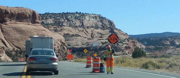 UDOT flagger on US 191. photo by Jim Stiles