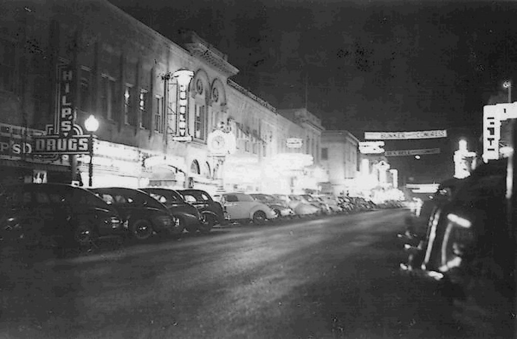 Night View of Virginia Street. Reno, NV. 1944. Photo by Herb Ringer.