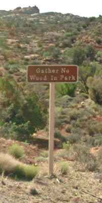 gather no wood in the park sign