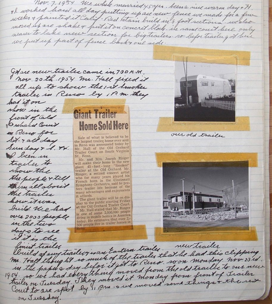 Page from Joseph Ringer's journal describing their Smoker Trailer