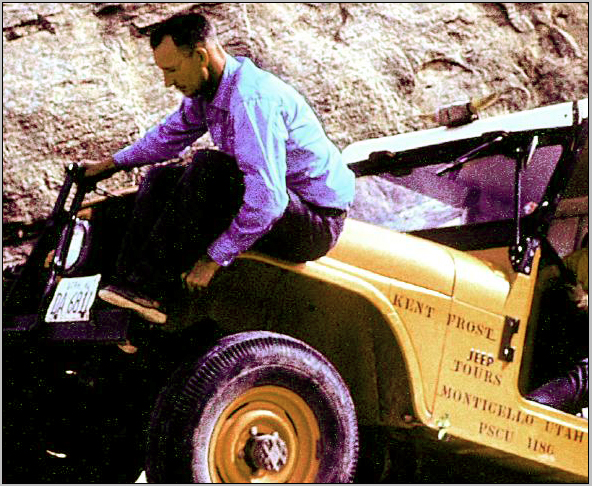 "Kent Frost with his CJ-5 Jeep ""Ruby."""