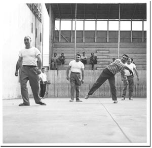 A game of handball at Bakersfield's Noriega Hotel