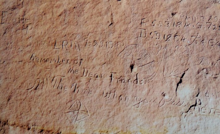 Basque inscription near Moab Utah. Remember Me. Photo by Jim Stiles