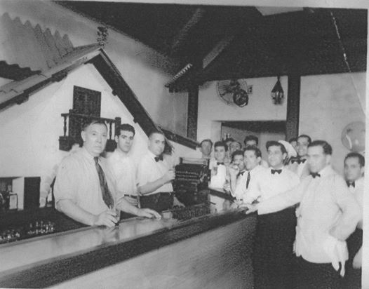 Valentin Aguirre and his staff at the Jai Alai Restaurant in the Santa Lucia Hotel
