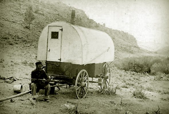 Wyoming Sheepherder with his Wagon.
