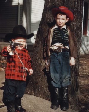 young Jim Stiles as a cowboy