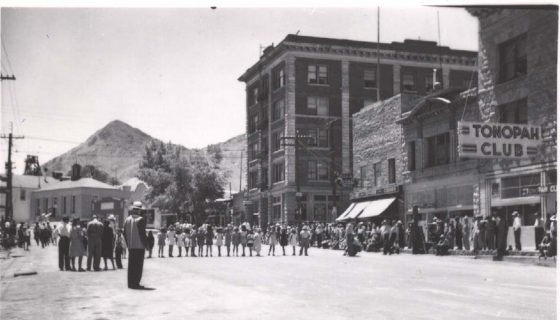 Downtown Tonopah, Nevada. Photo by Herb Ringer. 1940s