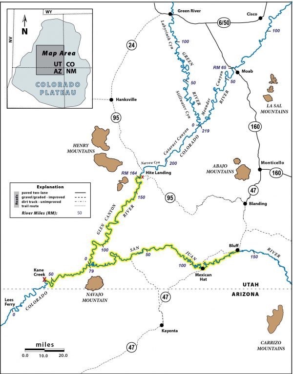 Area map highlighting river routes from Bluff to Kane Creek and Hite to Kane Creek; roadway numbers and routes as existed in 1940s & 1950s