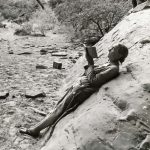 Georgia O'Keeffe sketching in Glen Canyon, 1961. (photo by Todd Webb; courtesy of the Georgia O'Keeffe Museum)