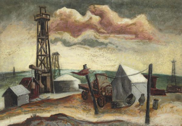 """Camp with Oil Rig"" (Jackson Pollock, circa 1930-1933, when he was a student of Thomas Hart Benton)"