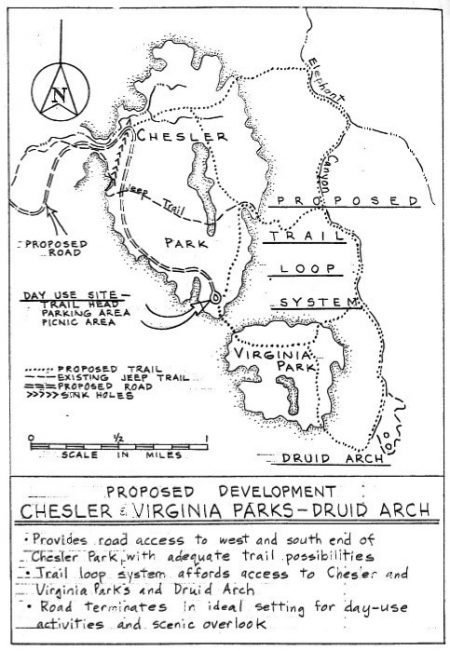 Planned loop road into and around Chesler Park from the Canyonlands National Park Master Plan Brief, August 4, 1965. — Canyonlands Collection