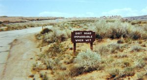one of the old signs at Arches