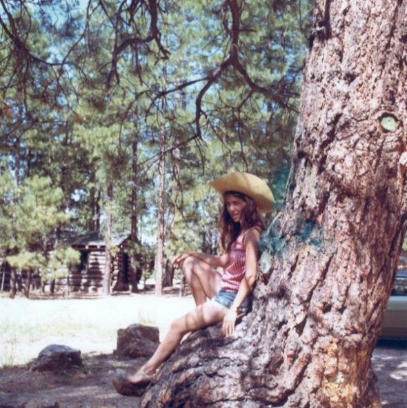 Author takes a break in her Ponderosa at North Rim, Grand Canyon, 1972. (c) Edward Abbey. All Rights Reserved.