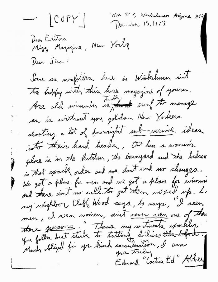 """Author's Copy of Abbey's """"Dear Sirs"""" Letter to the Editors of Ms Magazine. (c) Edward Abbey. All Rights Reserved."""